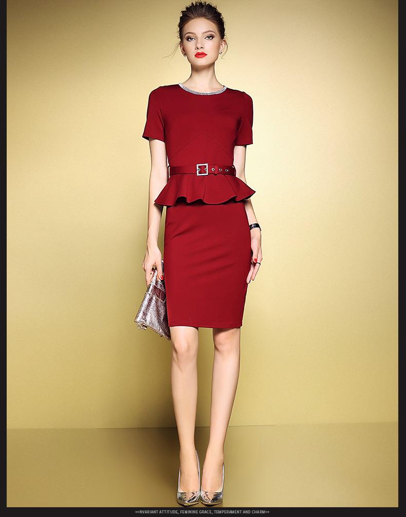 阳�9nl��!y����9��_yk8耀客时尚套装 修身假两件修身包臀连衣裙 枣红色 款号:nl-0217