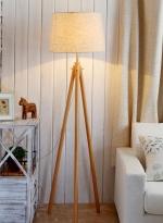 木艺温馨卧室灯三脚落地台灯 暖黄光