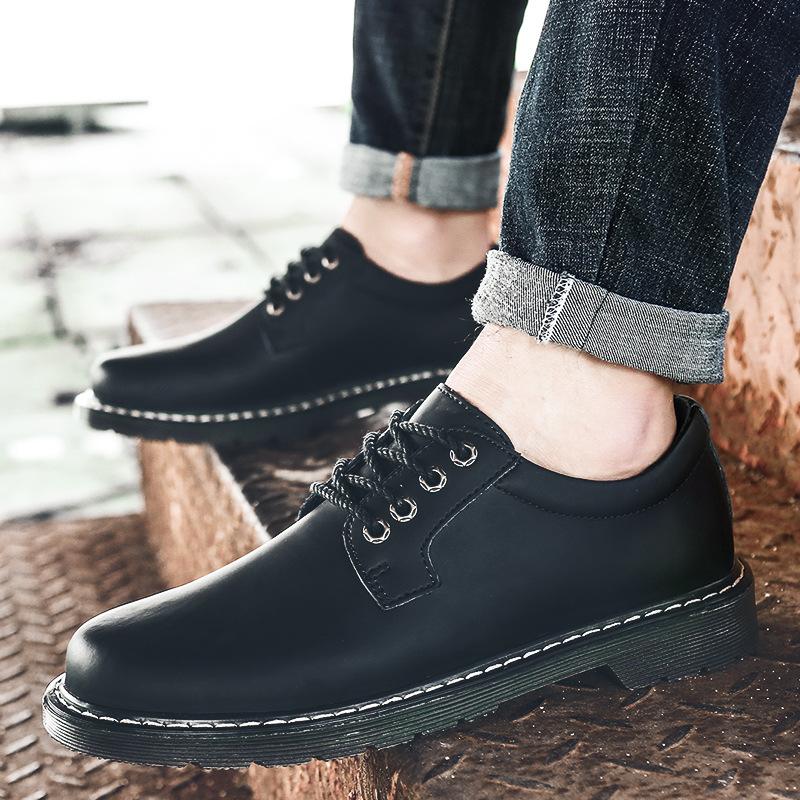 YK8耀客男板鞋 马丁鞋韩版潮流男板鞋 暗棕 款号:jx-69814
