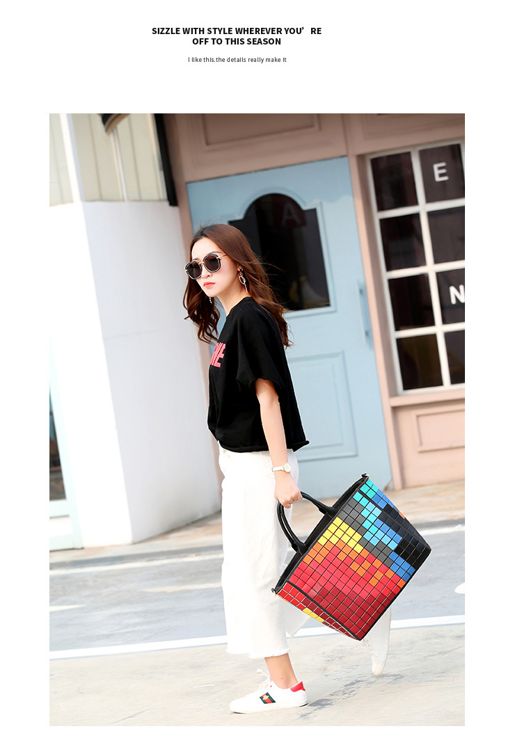 YK8耀客休闲手提包 日式马赛克拼色手提包 红色 款号:gu-63513