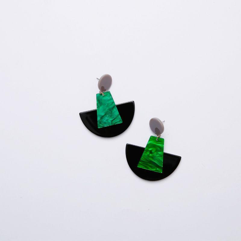 YK8耀客耳环 夸张几何拼接耳坠耳环 绿色 款号:wg-57782