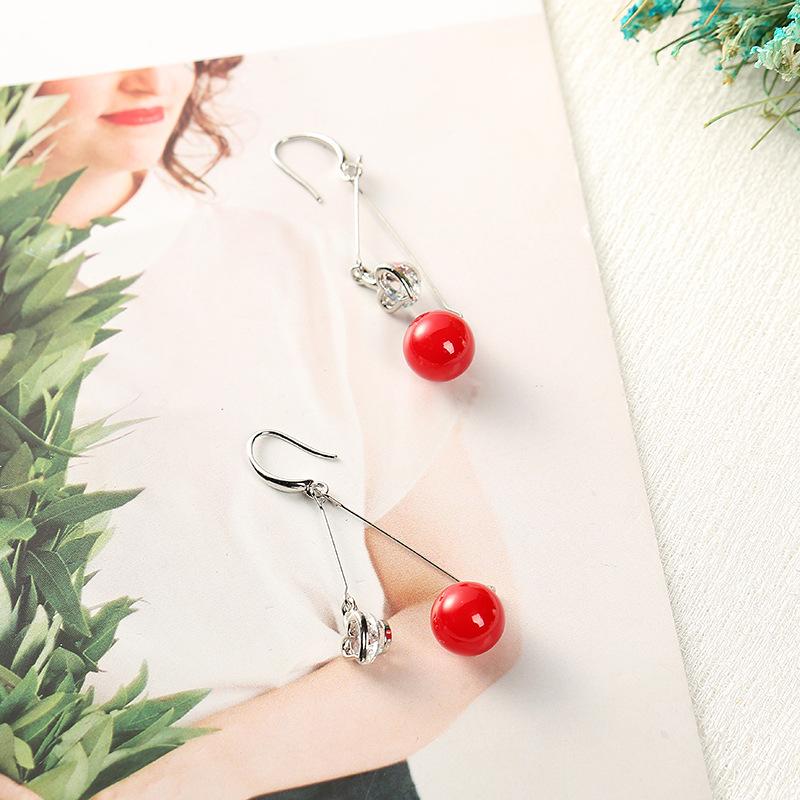 YK8耀客耳环 韩版风红色圆球耳环 红色 款号:cl-4230