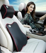 车用时尚腰枕记忆棉腰靠背垫 黑色红边