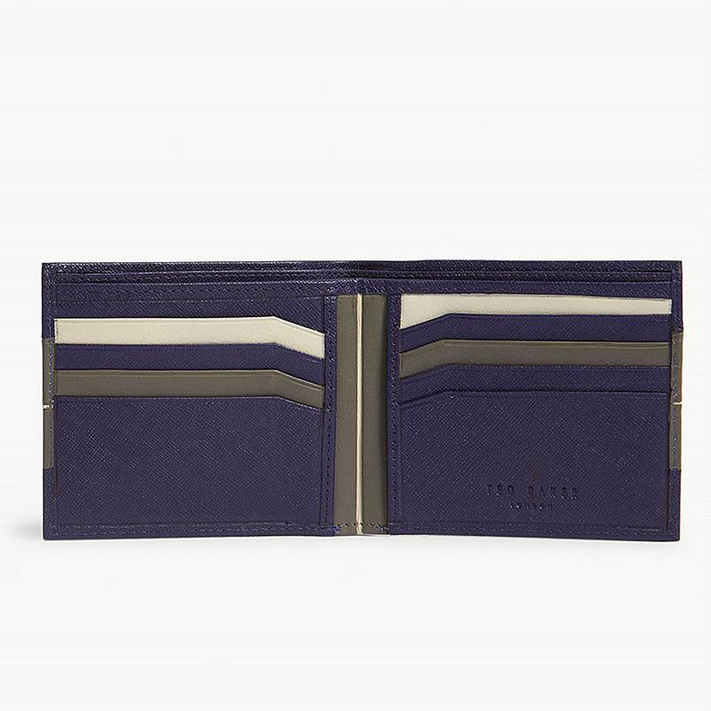 YK8耀客箱包品牌系列 烤条纹皮革钱夹钱包 海军深蓝色 款号:rl-7608