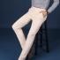 直筒弹力修身纯棉休闲长裤 米白色