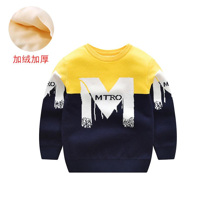 YK8耀客男童秋冬上装 韩版潮范加绒加厚毛衣 天鹅加绒大红 款号:nt-96543
