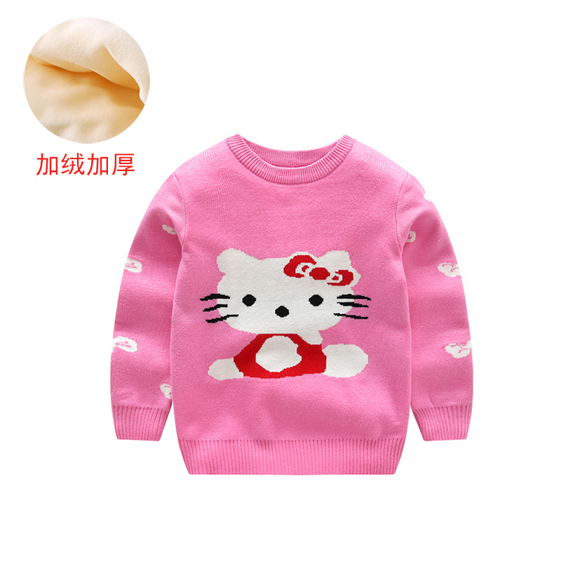 YK8耀客男童秋冬上装 韩版潮范加绒加厚毛衣 加绒kt猫玫 款号:ru-28302