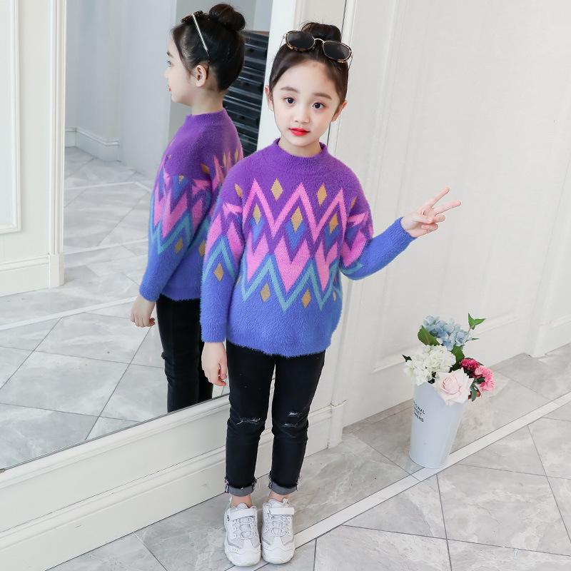 YK8耀客秋季上装 韩版针织仿貂毛圆领套头毛衣 深紫色 款号:hf-53672