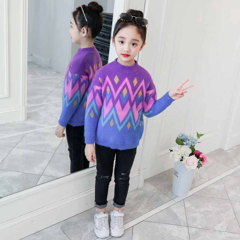 YK8耀客秋季上装 韩版针织仿貂毛圆领套头毛衣 蓝色 款号:za-00712