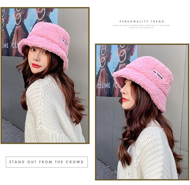 YK8耀客帽子系列 保暖简约羊羔毛渔夫帽子 米色 款号:es-42101