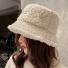 保暖简约羊羔毛渔夫帽子 米色