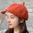 贝雷帽子韩版纯色简约时尚 铁锈红