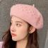 贝雷帽子韩版纯色简约时尚 粉色