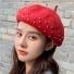 贝雷帽子韩版纯色简约时尚 大红