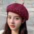 贝雷帽子韩版纯色简约时尚 酒红