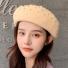贝雷帽子韩版纯色简约时尚 米色