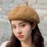 贝雷帽子韩版纯色简约时尚 浅咖