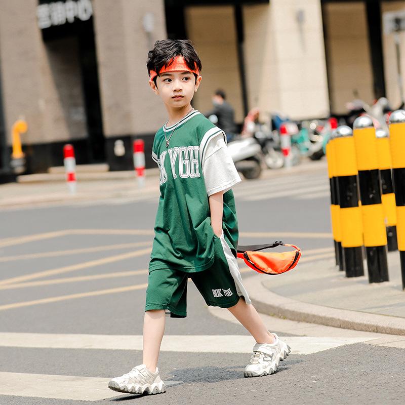YK8耀客男童套装 中大儿童休闲运动套装 绿色 款号:ti-3484