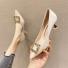 韩版高跟女单鞋小尖头凉鞋 杏色