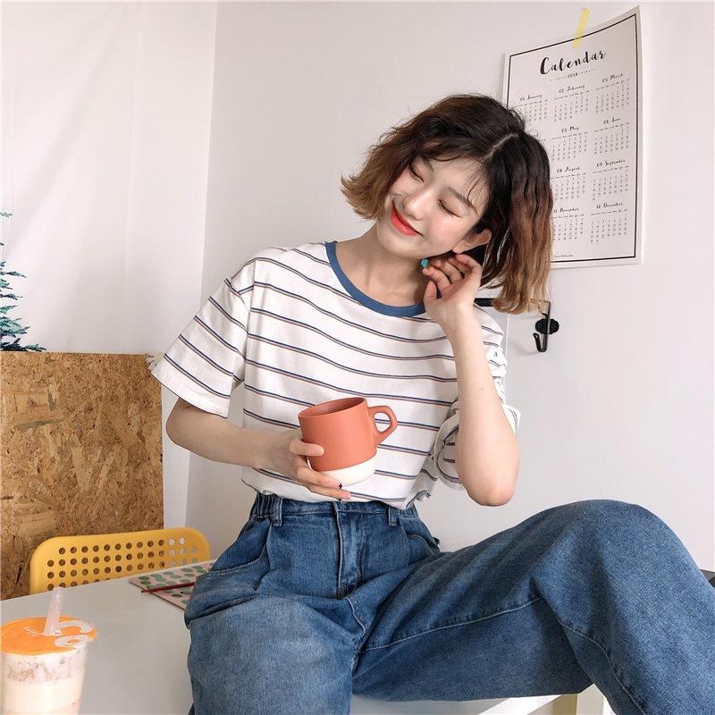 YK8耀客T恤 ins条纹T恤女短袖潮 白色 款号:rw-3651