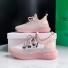 反光飞织椰子鞋女女板鞋 粉色