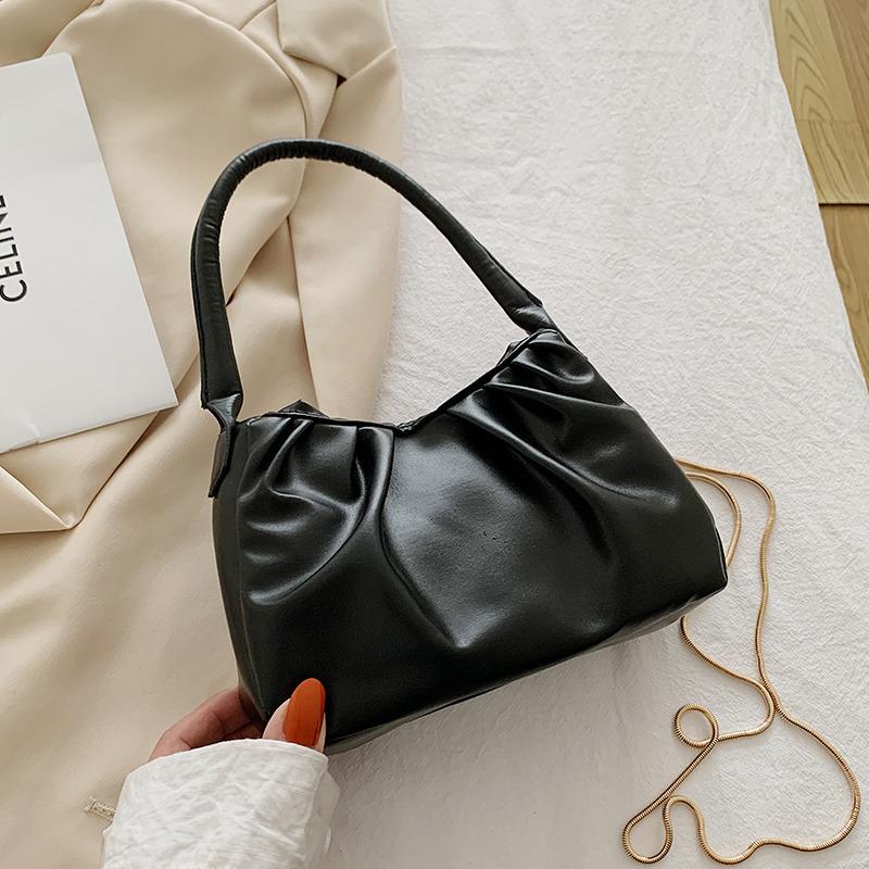 YK8耀客手提包单肩包 小方包休闲褶皱手拿包单肩包 黑色 款号:df-0181