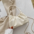 小方包休闲褶皱手拿包单肩包 白色