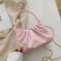 小方包休闲褶皱手拿包单肩包 粉色