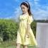韩版甜美连衣裙 黄色