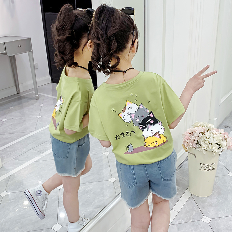 YK8耀客短袖T恤 卡通上衣中大童T恤童装 粉色 款号:kz-6577