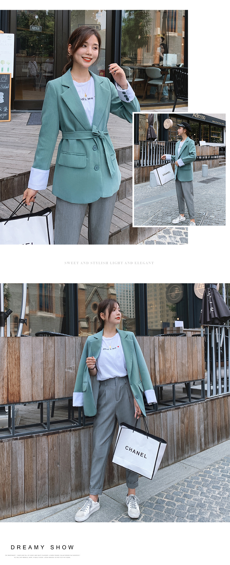 YK8耀客秋装外套系列 新款俏皮韩版宽松西装外套 青绿色 款号:qy-0300
