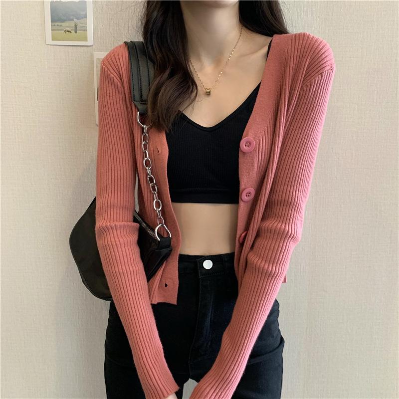 YK8耀客秋冬上装系列 短款毛衣修身开衫外套 杏色 款号:ui-2008