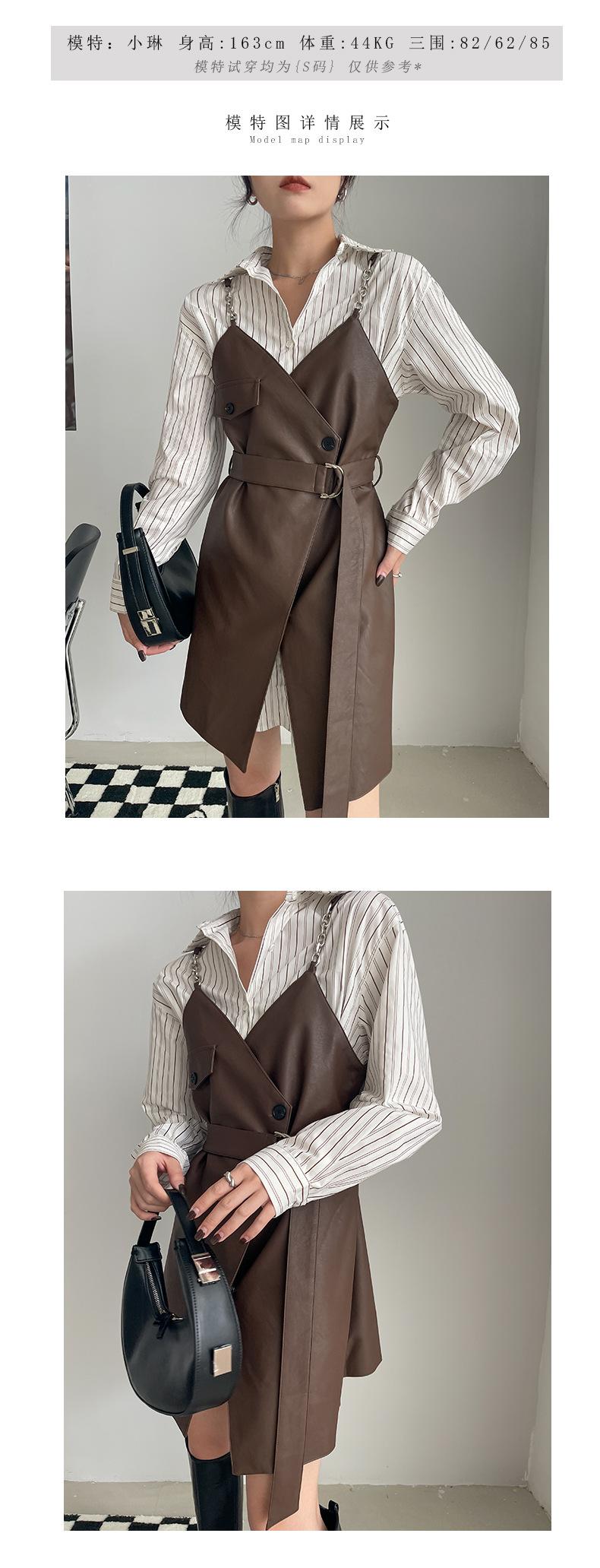 YK8耀客秋冬套装系列 休闲减龄连衣裙套装 咖啡色 款号:of-2531