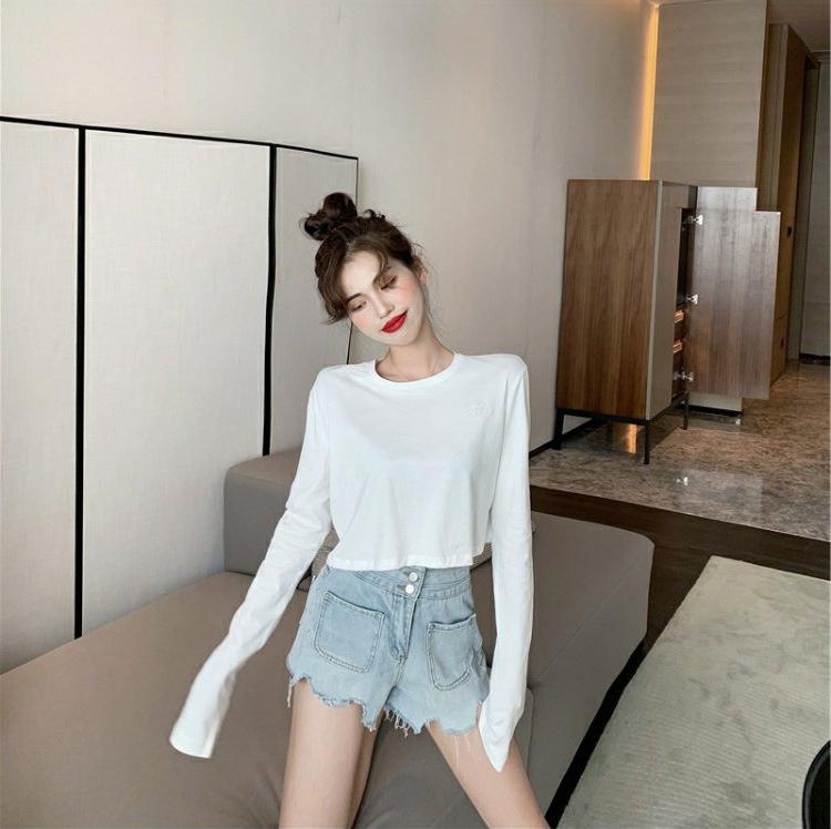 YK8耀客T恤 宽松休闲薄款长袖T恤 白色 款号:ge-1160