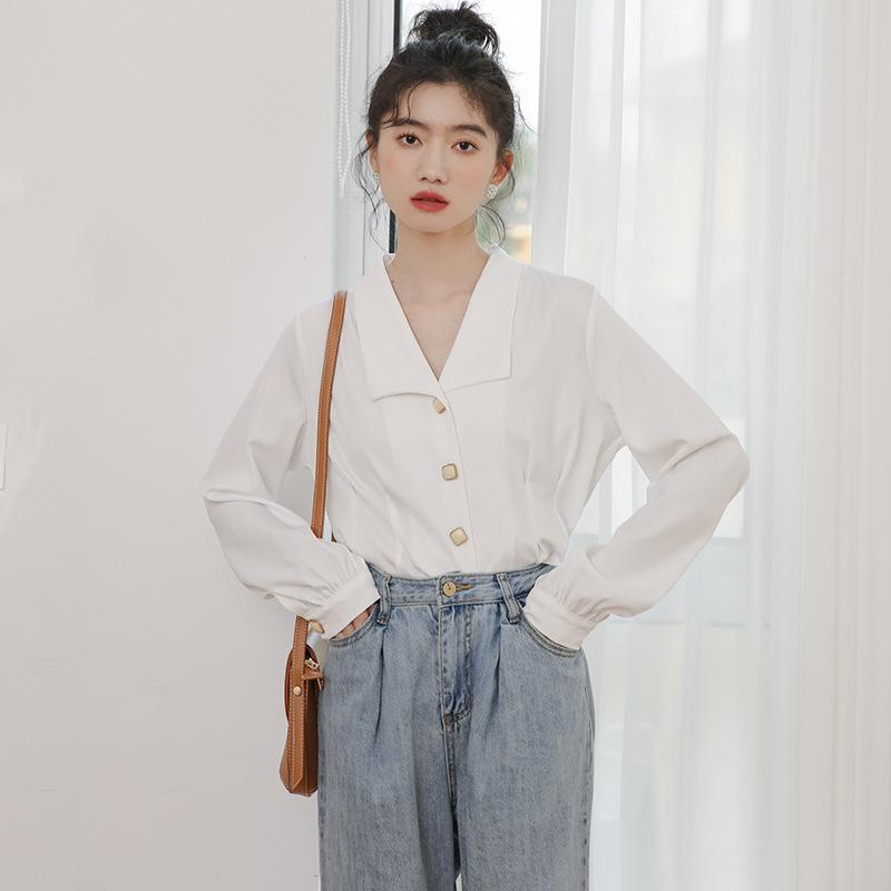 YK8耀客时尚衬衫 韩版小心机衬衫女法式 白色 款号:ge-4104