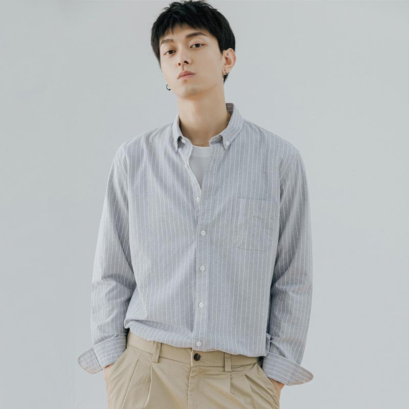 YK8耀客长袖时尚衬衫 潮流时尚休闲条纹衬衫 白色 款号:hm-1561