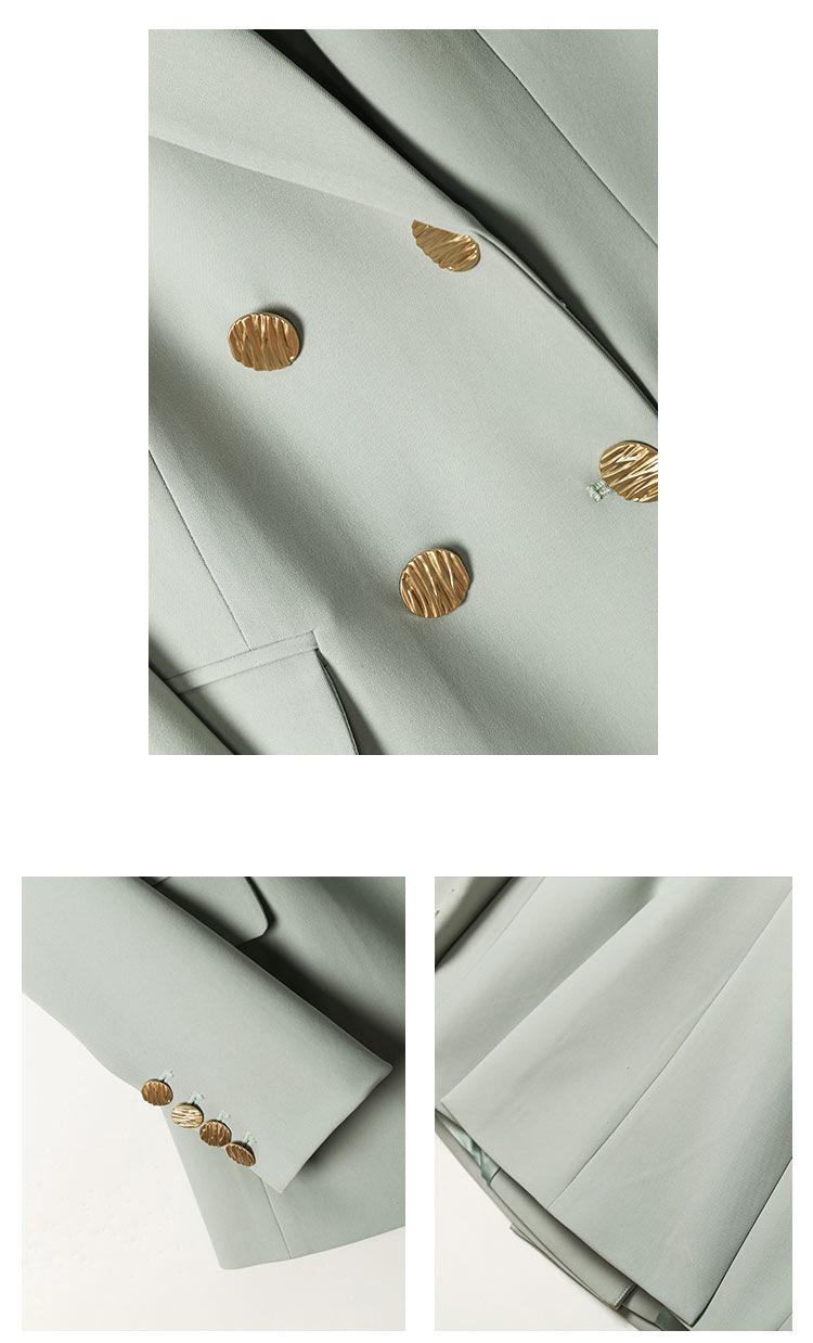 YK8耀客2021年夏季新款 时尚职业小西服女套装 灰绿色 款号:du-3595