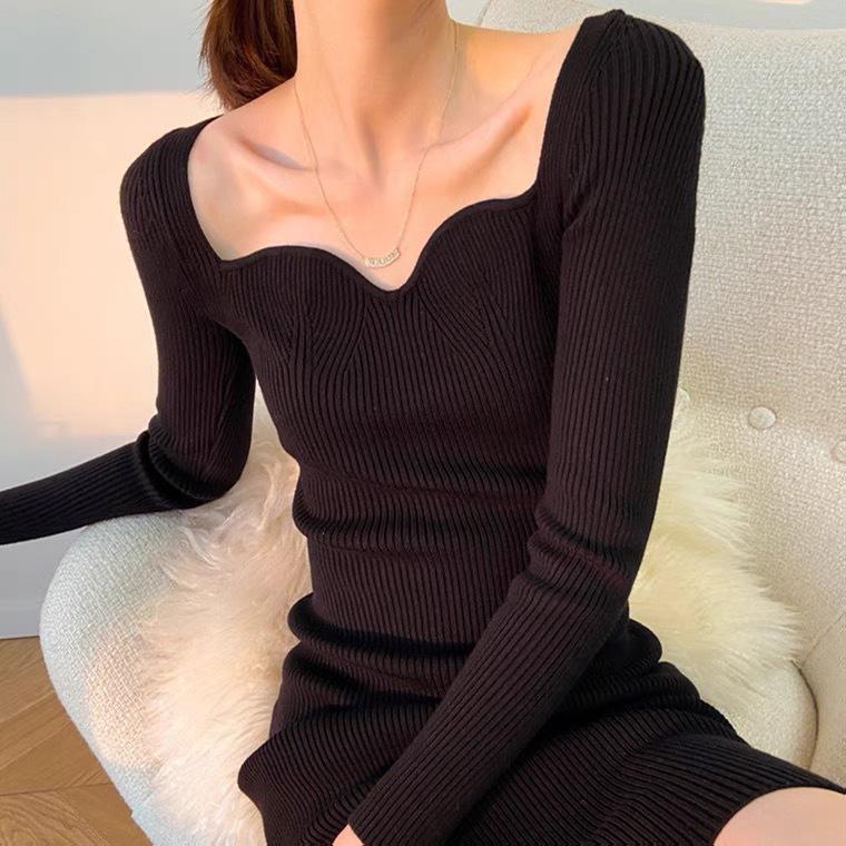 YK8耀客打底连衣裙系列 新款内搭气质中长款连衣裙 杏色 款号:ql-5067