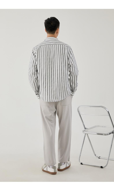 YK8耀客长袖时尚衬衫 都市翻领条纹开衫衬衫 白色 款号:io-8144