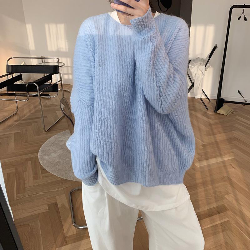 YK8耀客秋冬上装系列 舒适慵懒马海毛上衣 淡黄 款号:lr-4366